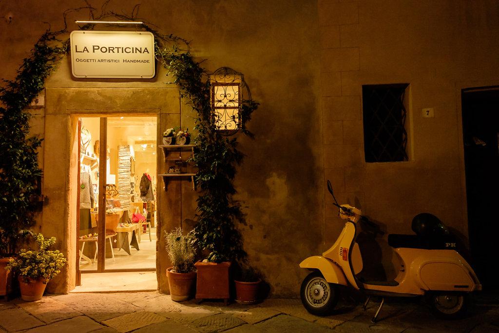 Pienza streets after dark